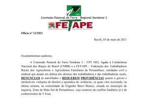 CPT e FETAPE cobram resolução do conflito fundiário em Barro Branco, Jaqueira (PE)
